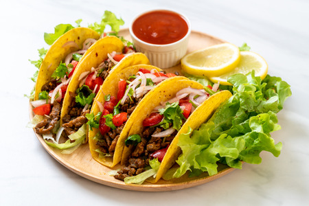 Foto per tacos with meat and vegetables  -  Mexican food style - Immagine Royalty Free