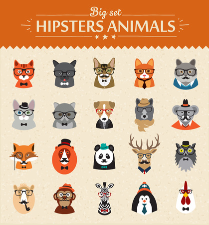 Photo pour Cute fashion Hipster  Animals  of vector icons large set illustrator vector modern concept of flat design - image libre de droit
