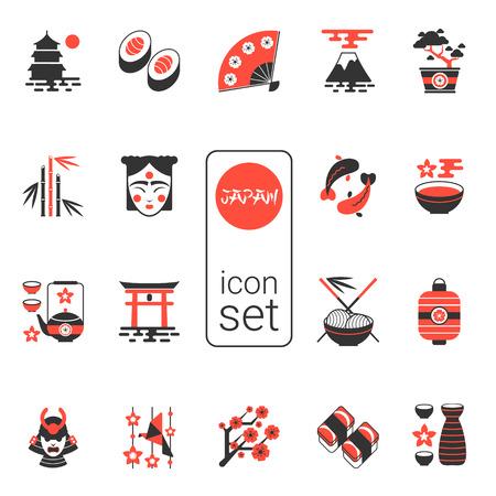 Ilustración de Asian icons set - vector illustration. eps 8. Selection of Contemporary icons in black and red - Imagen libre de derechos