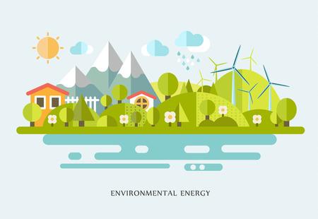 Ilustración de vector illustration Ecology infographic elements flat design. Eco life, eco-friendly city, village, country house, windmills - Imagen libre de derechos
