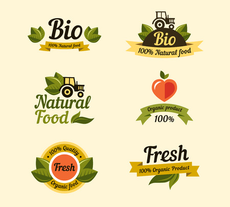 Illustration pour Set of vintage style elements for labels and badges for organic food and drink - image libre de droit