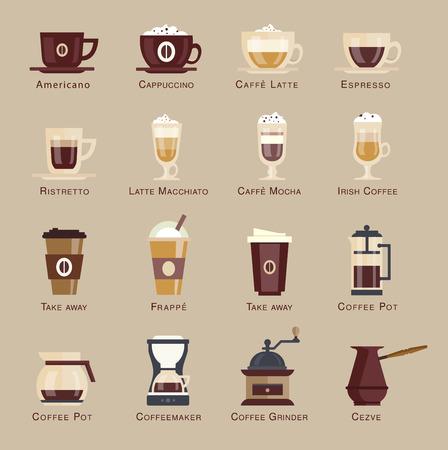Ilustración de Coffee vector icon set menu. flat style - Imagen libre de derechos
