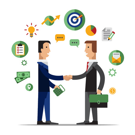 Illustration for Successful partnership, business people cooperation agreement, teamwork solution and handshake of two businessman Isolated on stylish background. Flat design style modern vector illustration concept - Royalty Free Image