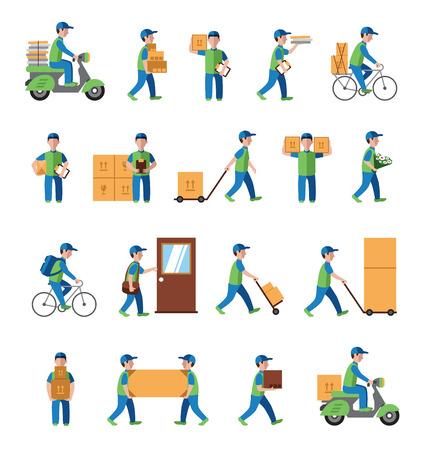 Illustration pour logistics, postman people. Flat style icon vector - image libre de droit