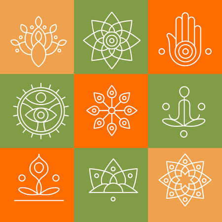Ilustración de Vector yoga icons and line badges, graphic design elements or logo templates for spa center or yoga studio - Imagen libre de derechos