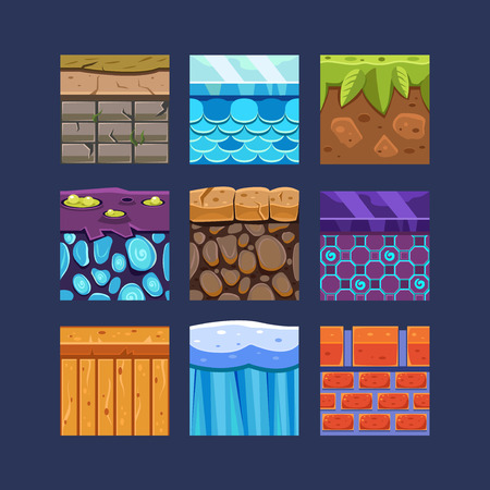 Illustration pour Different materials and textures for the game set - image libre de droit