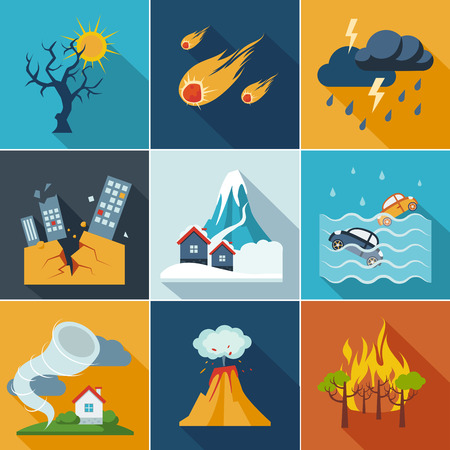 Illustration for Natural disaster, phenomena icons set flat style - Royalty Free Image