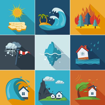 Illustration pour Natural disaster, phenomena icons set flat style - image libre de droit