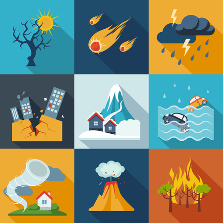Illustration for A set of natural disaster icons in fresh colors. - Royalty Free Image