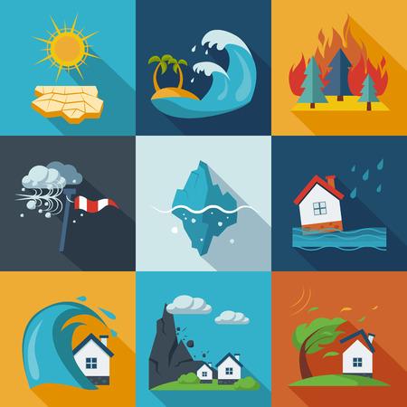 Illustration pour A set of natural disaster icons in fresh colors. - image libre de droit