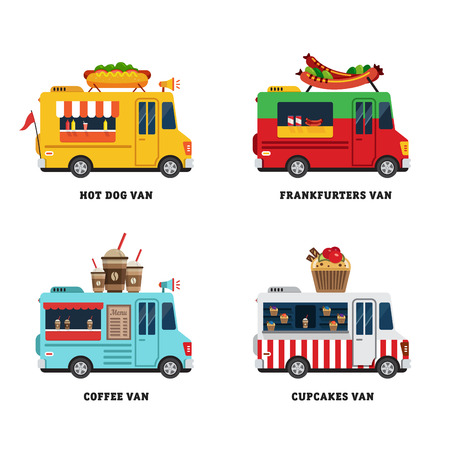Illustration pour Street food van. Fastfood delivery. Flat design vector illustration isolated on white background - image libre de droit