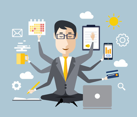 Illustration for Businessman with multitasking and multi skill. Keep calm. Business concept. Flat design - Royalty Free Image