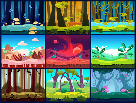 Illustration pour Game background seamless set - image libre de droit