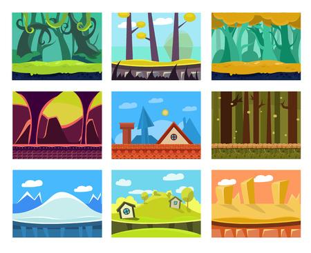Illustration pour Game background seamless set - image libre de droit