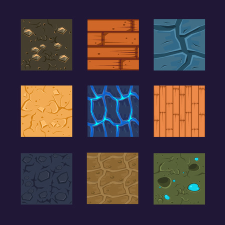 Illustration pour Different materials and textures for the game. Vector flat set stone, wood, earth - image libre de droit