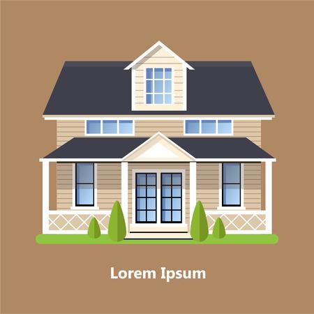 Ilustración de Colorful Flat Residential Houses vector - Imagen libre de derechos