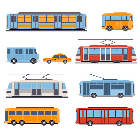 Illustration pour City and intercity transportation vehicles icon set. Trains, subway, buses and taxi. Flat style illustration or icon - image libre de droit
