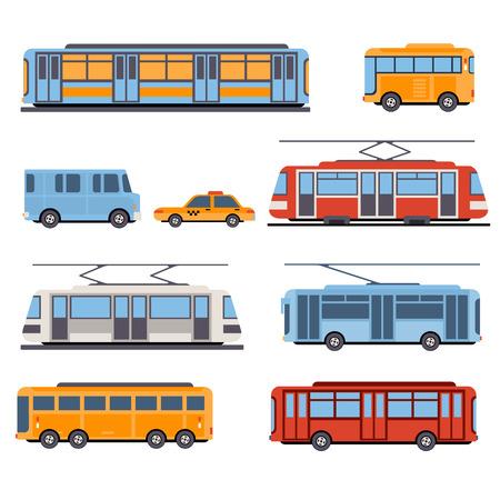 Ilustración de City and intercity transportation vehicles icon set. Trains, subway, buses and taxi. Flat style illustration or icon - Imagen libre de derechos