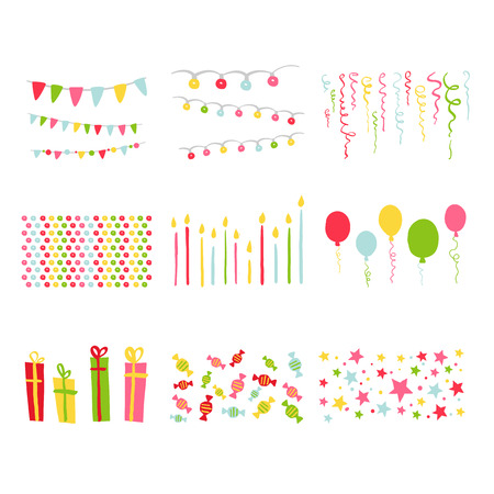 Illustration for Scrapbook Design Elements Birthday Party Set in vector - Royalty Free Image