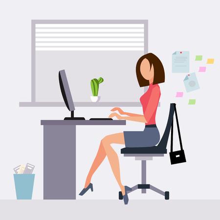 Illustration pour Woman working in office vector illustration flat style - image libre de droit