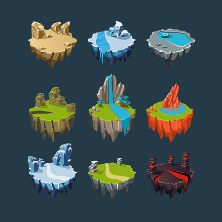 Illustration pour Isometric 3d Islands mountains lake waterfall volcano, Elements for games - image libre de droit