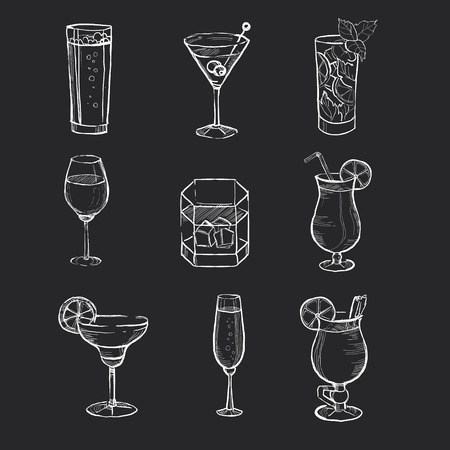 Ilustración de Different hand drawn beverages on the blackboard.  - Imagen libre de derechos