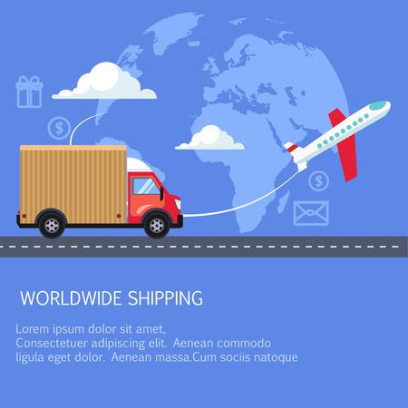 Ilustración de Supply and delivery logistics services in the business. - Imagen libre de derechos