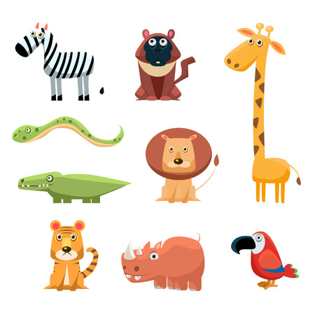 Illustration pour African Animals Fun Cartoon Clip Art Collection - image libre de droit