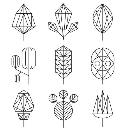 Ilustración de Graphical leaf of the tree set, hipster linear style - Imagen libre de derechos