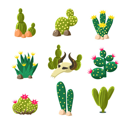 Illustration pour Icons of cactuses in the rocks with a skull, set of vector illustrations for desert landscape - image libre de droit