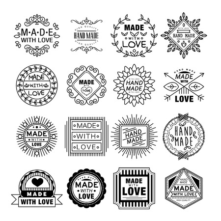 Illustration for Vector illustration set of linear badges and logo design elements - hand made, made with love and handcrafted - Royalty Free Image