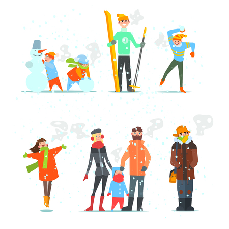 Illustration for People in Winter and Winter Activities. Vector Illustration Set. - Royalty Free Image
