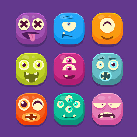 Cute Monster with different emotions Web Icons, Colourful Vector Illustration Set