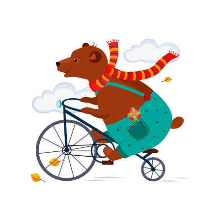 Illustration pour Cute Bear Riding a Bicycle in a Scarf in Autumn. Vector Illustration - image libre de droit