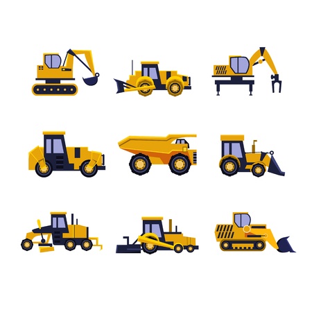 Illustration pour Construction Equipment Road Roller, Excavator, Bulldozer and Tractor. Car Flat Icon Collection - image libre de droit