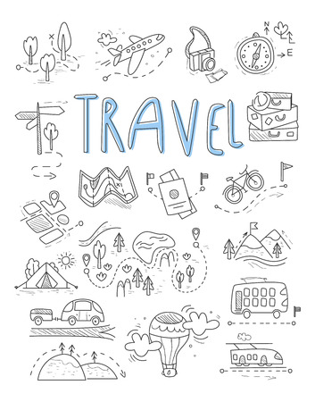 Illustration pour Travel, camping icons in Doodle style great set vector illustration - image libre de droit