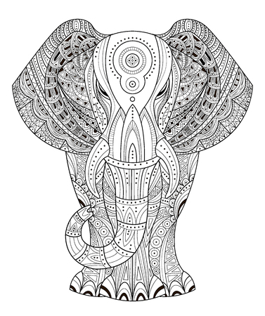 Illustration for Ornated Elephant Vector illustration in style.  - Royalty Free Image