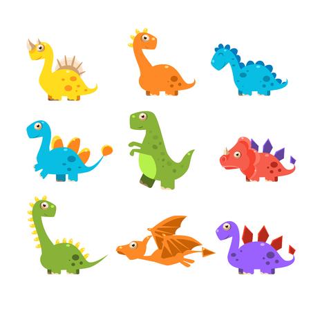 Ilustración de Small Colurful Dinosaur Set. Vector Illustration - Imagen libre de derechos