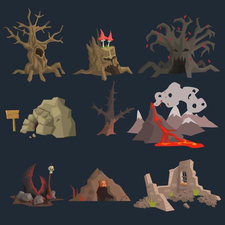 Illustration pour Swamp, Tree and Cave Game Vector Set - image libre de droit