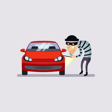 Ilustración de Car Insurance and Theft Colourful Vector Illustration flat style - Imagen libre de derechos
