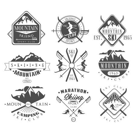 Illustration pour Vintage Skiing Labels and Design Elements Vector Set - image libre de droit