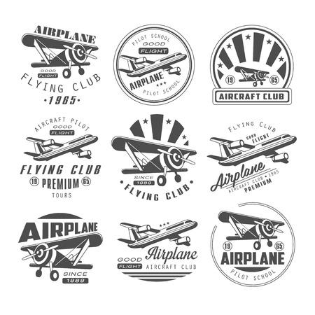 Illustration pour Airplane Club Vector Illustration Emblem, badges Set - image libre de droit