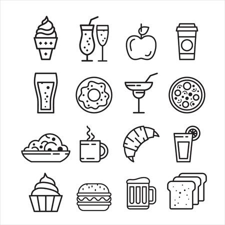 Ilustración de Fast junk food icons set of sandwich hot dog pizza hamburger  isolated vector illustration - Imagen libre de derechos