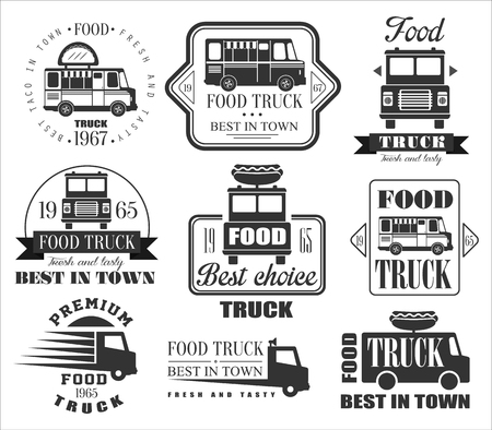 Illustration pour Food Truck Emblems, Icons and Badges. Vector Illustration Set - image libre de droit