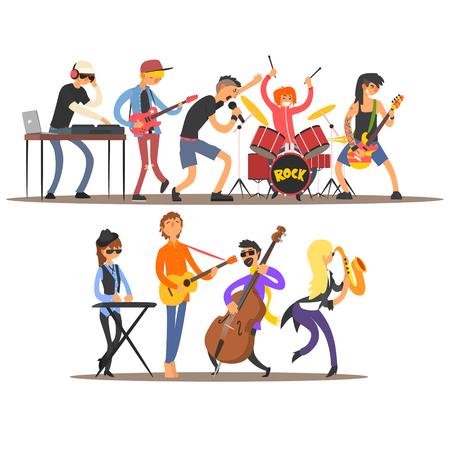 Illustration pour Musicians and Mucical Instruments. Flat Vector Illustration - image libre de droit