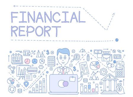 Illustration pour Financial Report Infographics. Hand drawn Vector Illustration Design for the web site, first page - image libre de droit