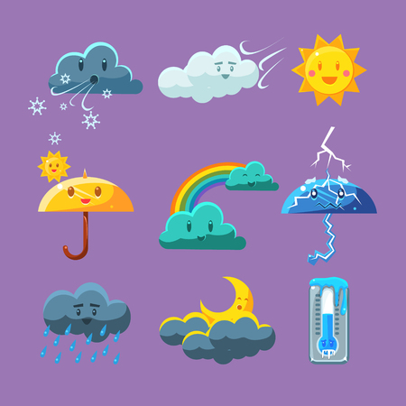 Illustration pour Childish Weather Set Of Flat Vector Cartoon Style Isolated Cute Girly Drawings On Light Blue Background - image libre de droit
