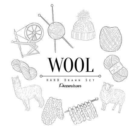 Illustration pour Wool Vintage Vector Hand Drawn Design Card - image libre de droit