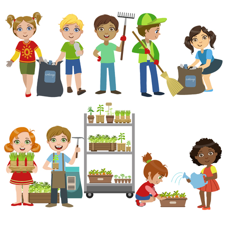Ilustración de Kids Gardening And Picking Up Garbage Set Of Bright Color Simple Style Flat Vector Illustrations On White Background - Imagen libre de derechos
