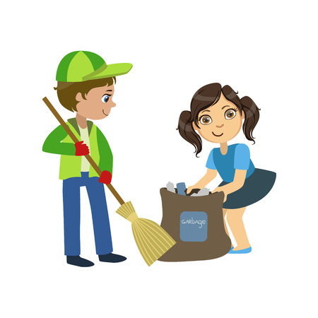 Illustrazione per Kids With Broom And Binbag Bright Color Simple Style Flat Vector Illustrations On White Background - Immagini Royalty Free